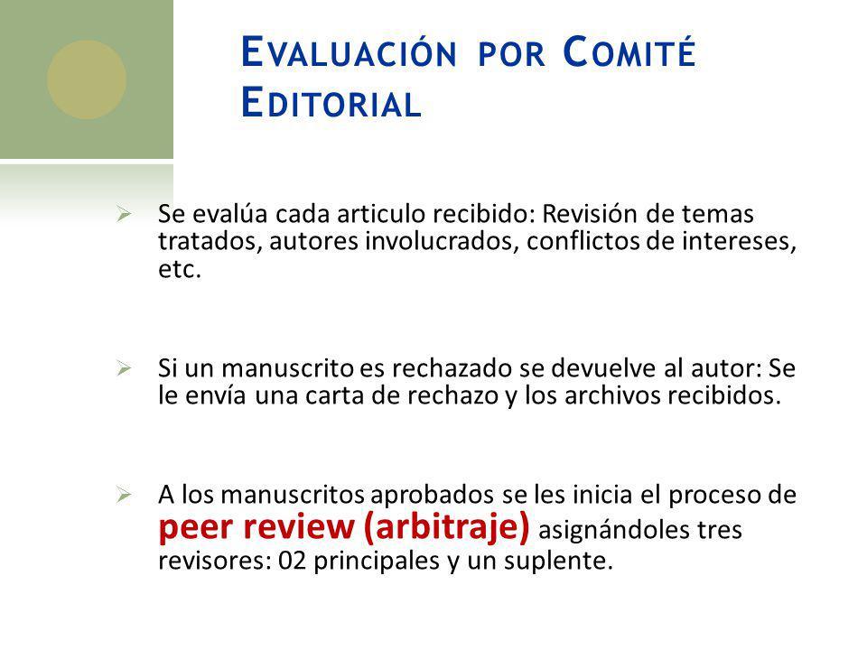 Evaluación por Comité Editorial