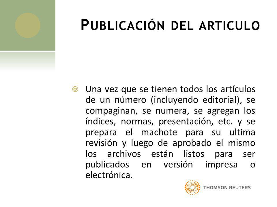 Publicación del articulo