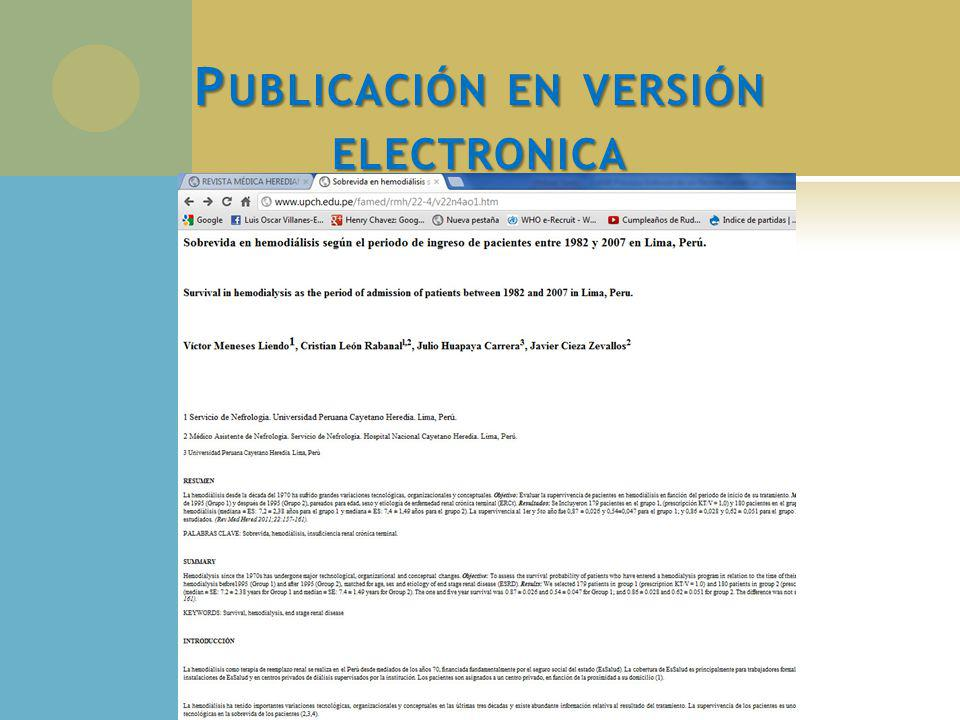 Publicación en versión electronica