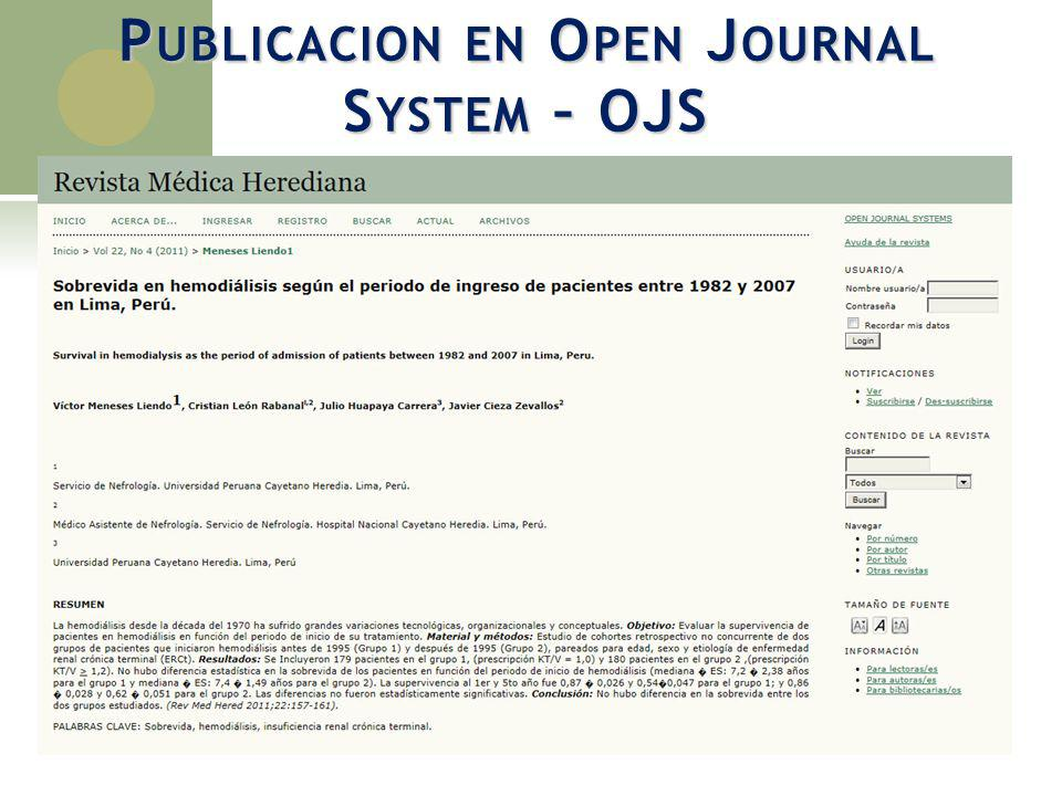 Publicacion en Open Journal System – OJS