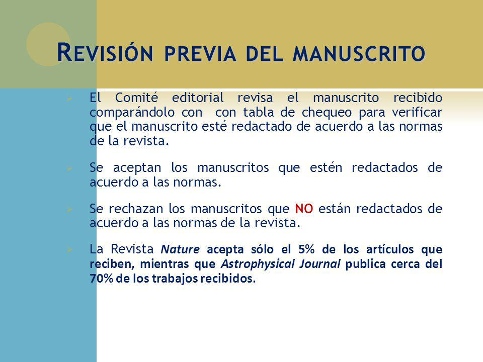 Revisión previa del manuscrito