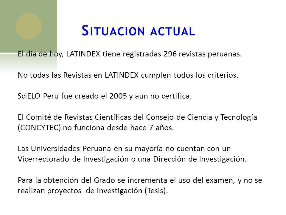 Situacion actual El día de hoy, LATINDEX tiene registradas 296 revistas peruanas. No todas las Revistas en LATINDEX cumplen todos los criterios.