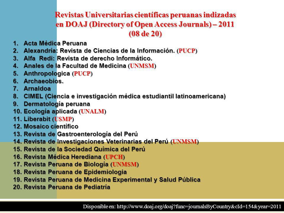 Revistas Universitarias científicas peruanas indizadas en DOAJ (Directory of Open Access Journals) – 2011 (08 de 20)