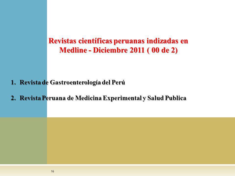 Revistas científicas peruanas indizadas en Medline - Diciembre 2011 ( 00 de 2)