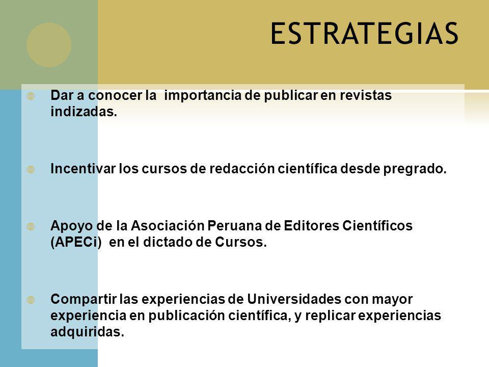 ESTRATEGIAS Dar a conocer la importancia de publicar en revistas indizadas. Incentivar los cursos de redacción científica desde pregrado.