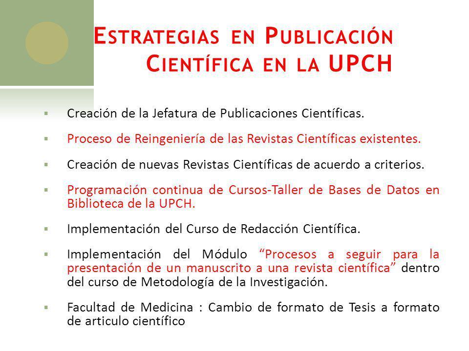 Estrategias en Publicación Científica en la UPCH
