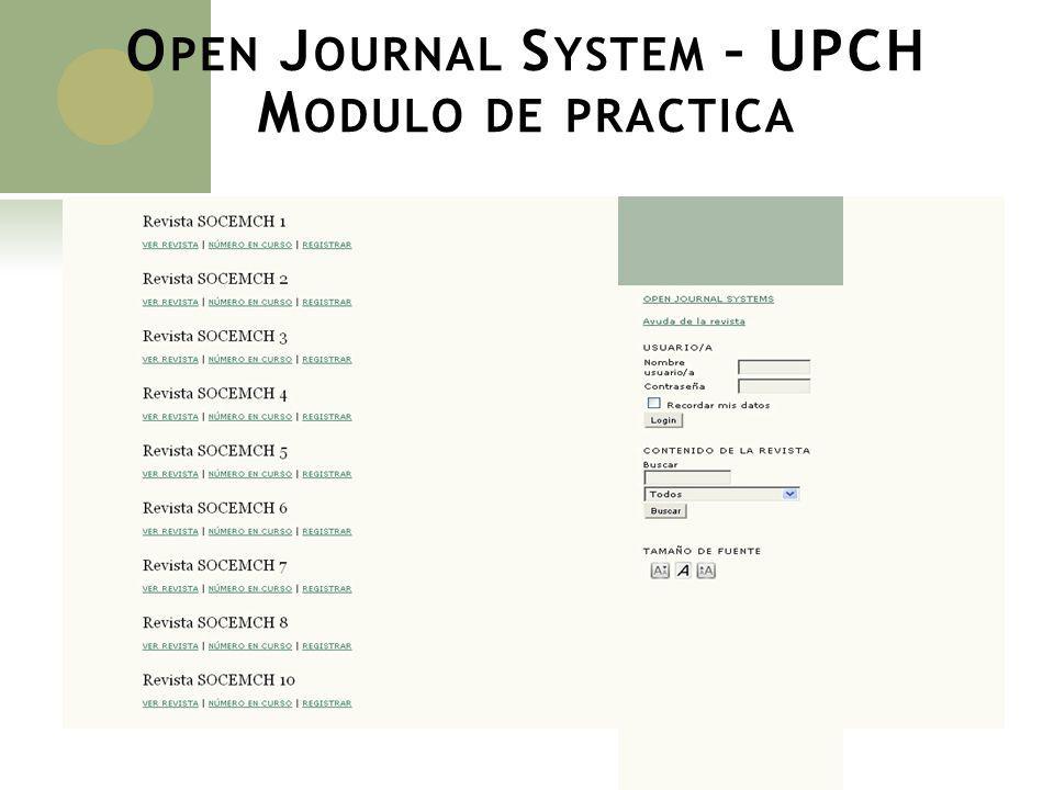 Open Journal System – UPCH Modulo de practica