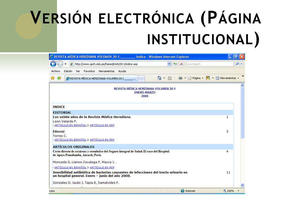 Versión electrónica (Página institucional)