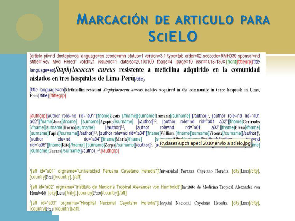 Marcación de articulo para SciELO