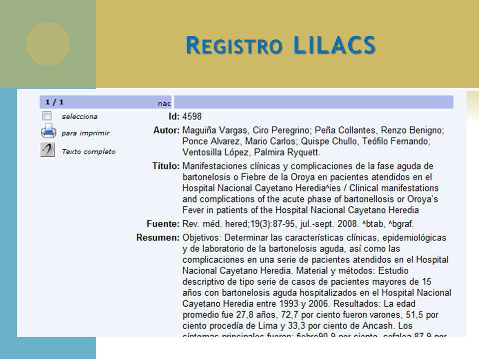 Registro LILACS