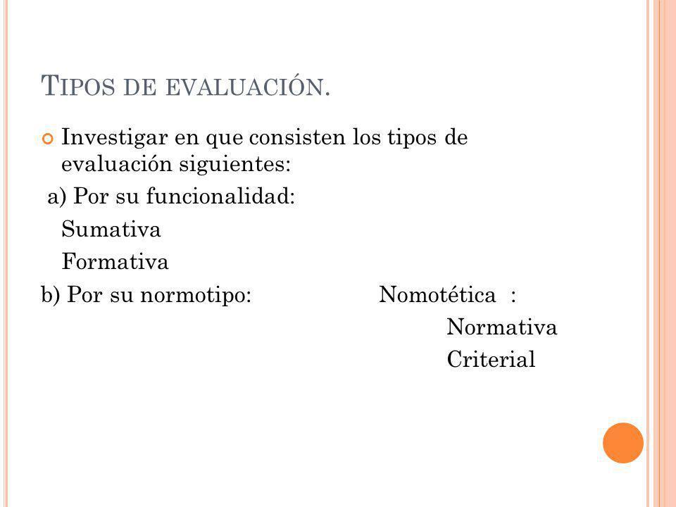 Tipos de evaluación. Investigar en que consisten los tipos de evaluación siguientes: a) Por su funcionalidad: