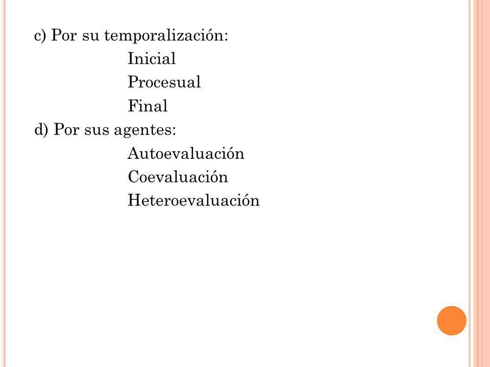 c) Por su temporalización: Inicial Procesual Final d) Por sus agentes: Autoevaluación Coevaluación Heteroevaluación