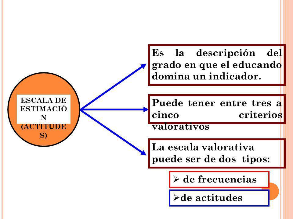 Es la descripción del grado en que el educando domina un indicador.