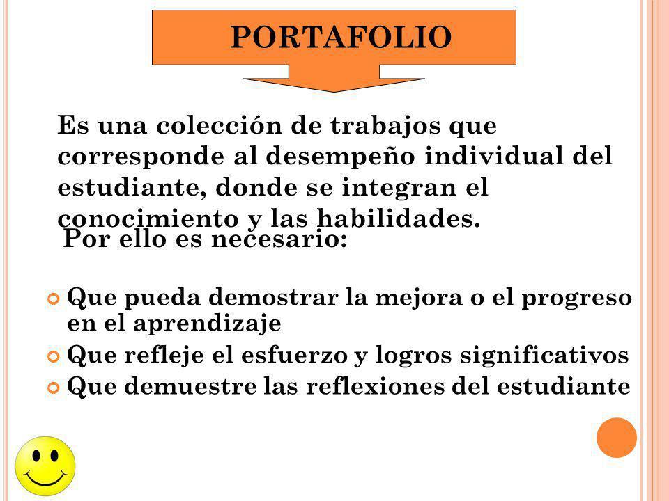 PORTAFOLIO Es una colección de trabajos que corresponde al desempeño individual del estudiante, donde se integran el conocimiento y las habilidades.