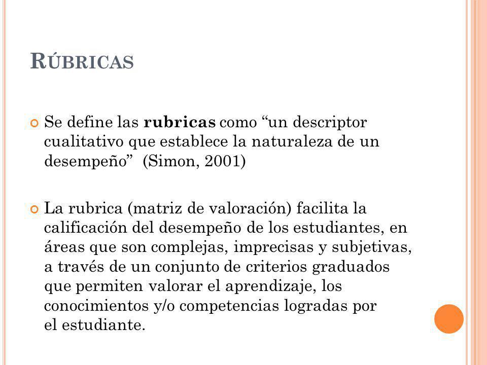 Rúbricas Se define las rubricas como un descriptor cualitativo que establece la naturaleza de un desempeño (Simon, 2001)