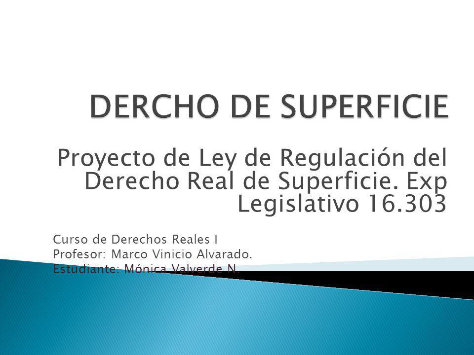 DERCHO DE SUPERFICIE Proyecto de Ley de Regulación del Derecho Real de Superficie. Exp Legislativo 16.303.