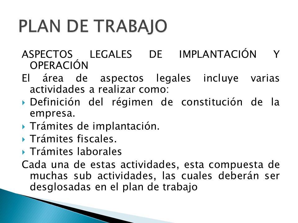 PLAN DE TRABAJO ASPECTOS LEGALES DE IMPLANTACIÓN Y OPERACIÓN