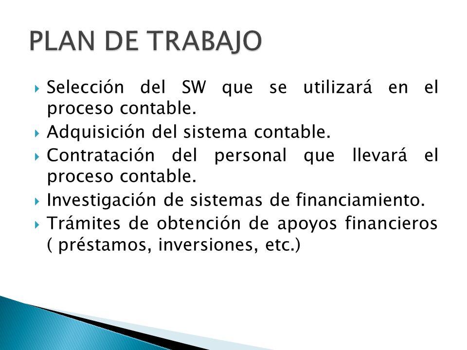 PLAN DE TRABAJO Selección del SW que se utilizará en el proceso contable. Adquisición del sistema contable.