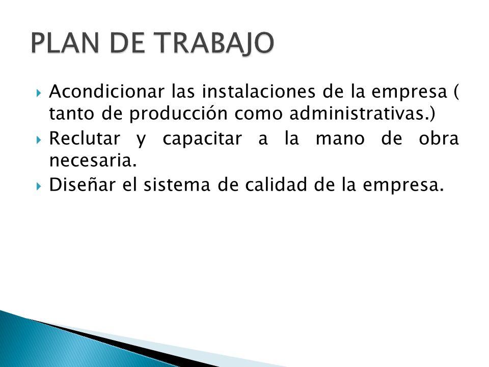 PLAN DE TRABAJO Acondicionar las instalaciones de la empresa ( tanto de producción como administrativas.)