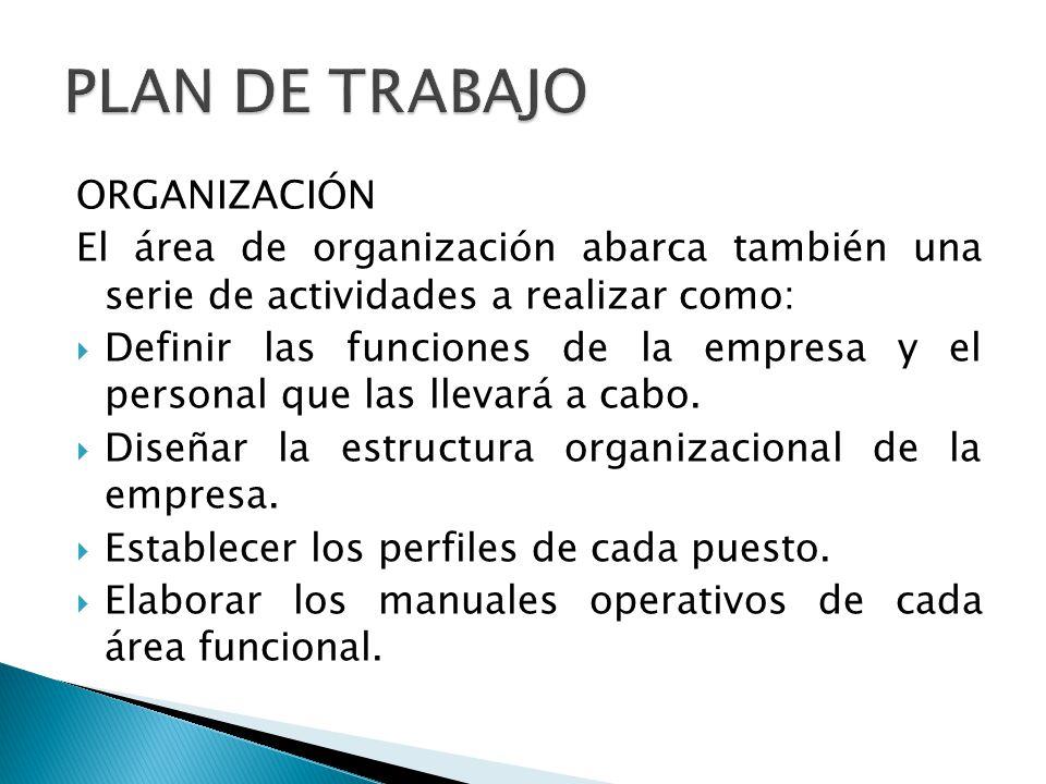 PLAN DE TRABAJO ORGANIZACIÓN