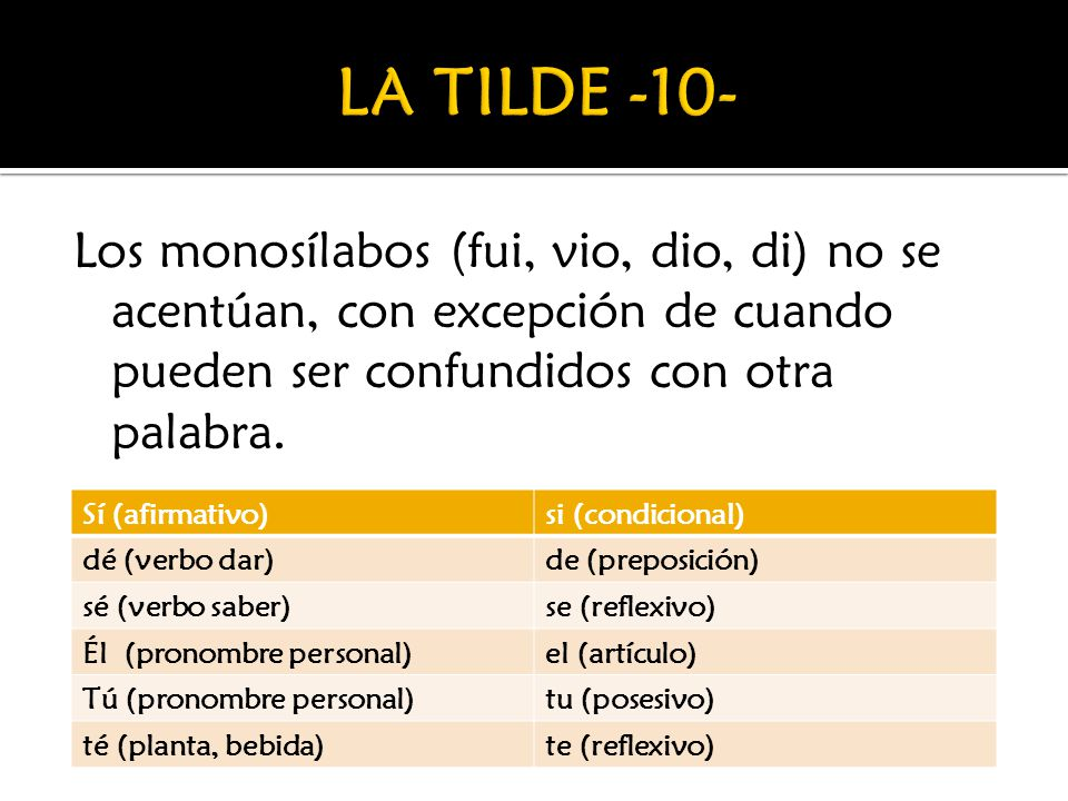 LA TILDE -10- Los monosílabos (fui, vio, dio, di) no se acentúan, con excepción de cuando pueden ser confundidos con otra palabra.