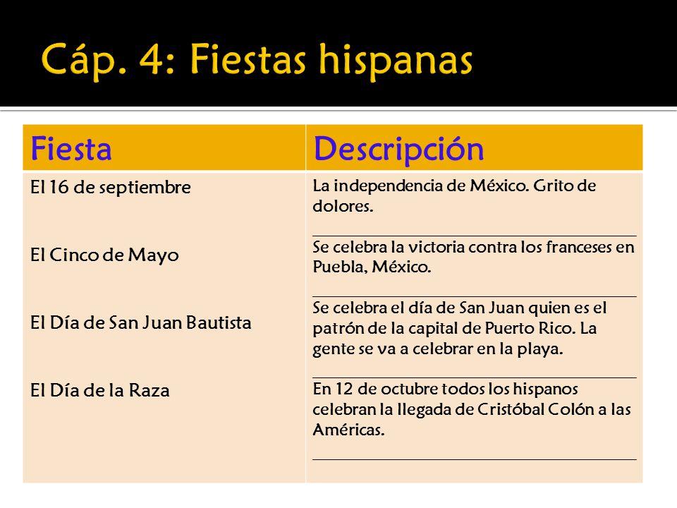 Cáp. 4: Fiestas hispanas Fiesta Descripción El 16 de septiembre