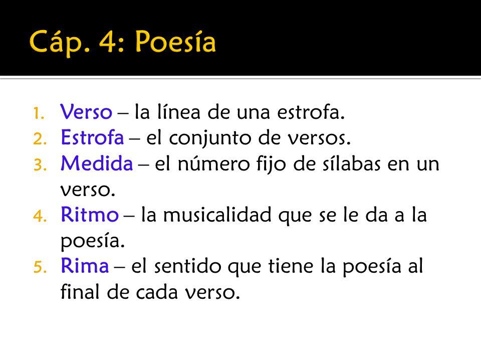 Cáp. 4: Poesía Verso – la línea de una estrofa.