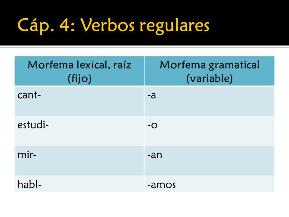 Cáp. 4: Verbos regulares Morfema lexical, raíz (fijo)