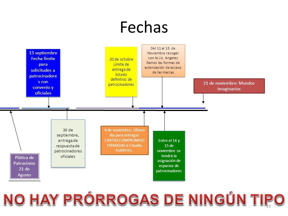 Fechas NO HAY PRÓRROGAS DE NINGÚN TIPO 13 septiembre