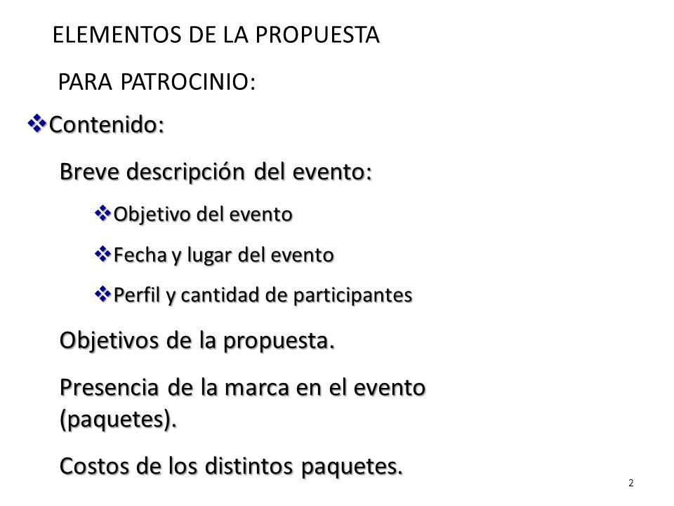 ELEMENTOS DE LA PROPUESTA PARA PATROCINIO: