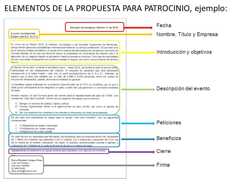 ELEMENTOS DE LA PROPUESTA PARA PATROCINIO, ejemplo:
