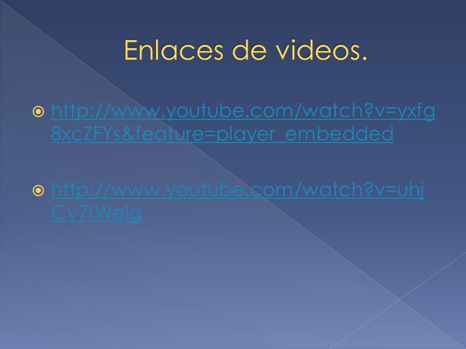Enlaces de videos. http://www.youtube.com/watch v=yxfg8xcZFYs&feature=player_embedded.