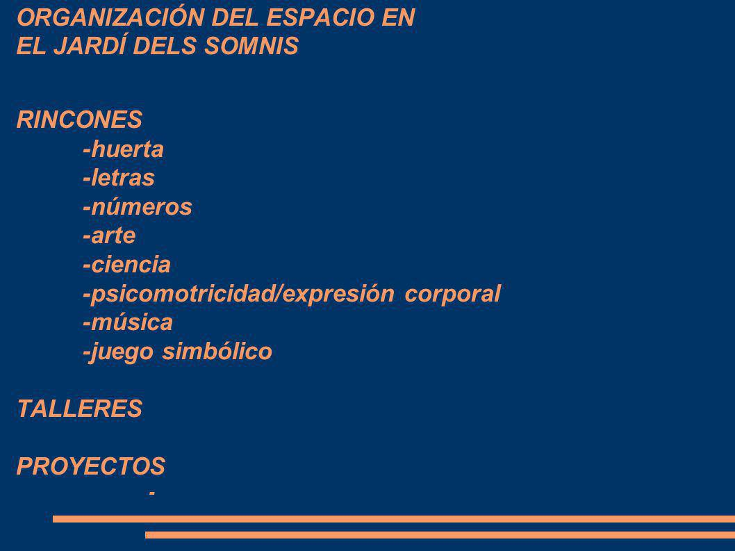 ORGANIZACIÓN DEL ESPACIO EN EL JARDÍ DELS SOMNIS RINCONES. -huerta