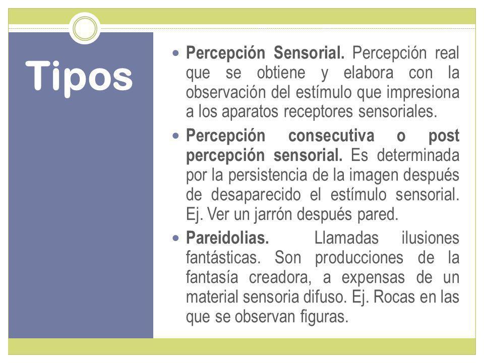 Percepción Sensorial. Percepción real que se obtiene y elabora con la observación del estímulo que impresiona a los aparatos receptores sensoriales.
