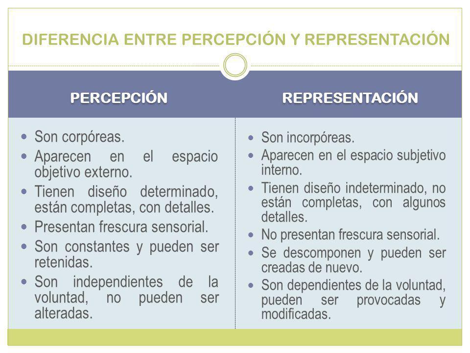 DIFERENCIA ENTRE PERCEPCIÓN Y REPRESENTACIÓN