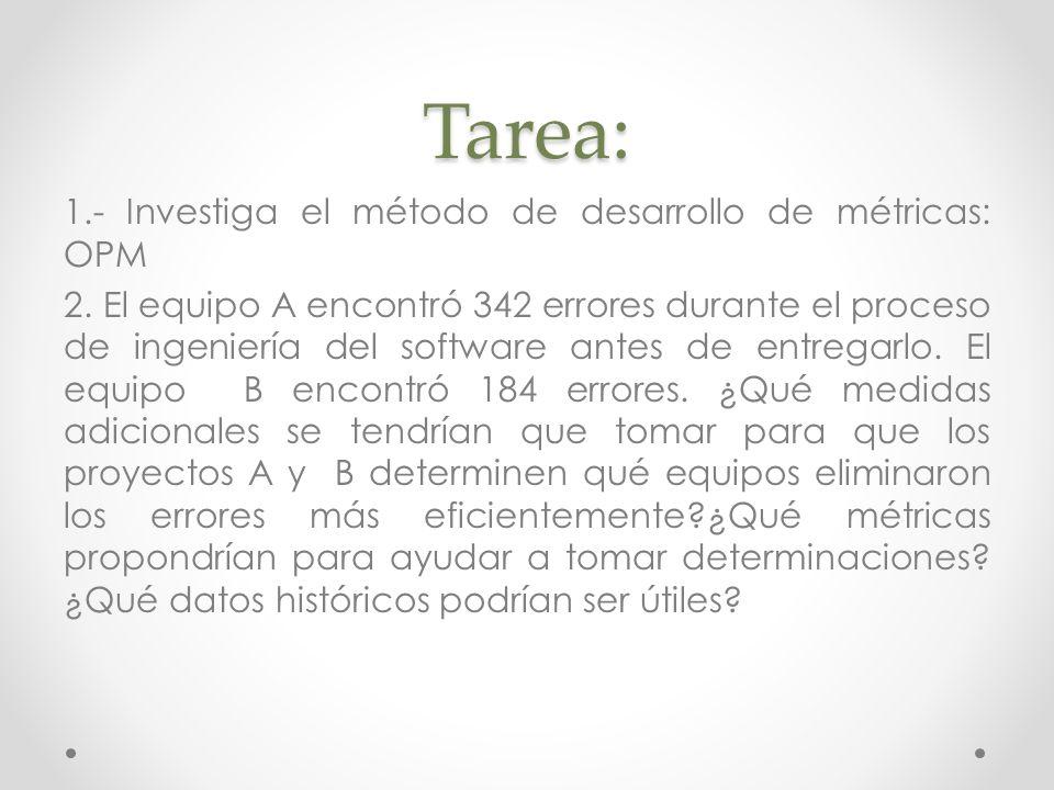 Tarea: 1.- Investiga el método de desarrollo de métricas: OPM