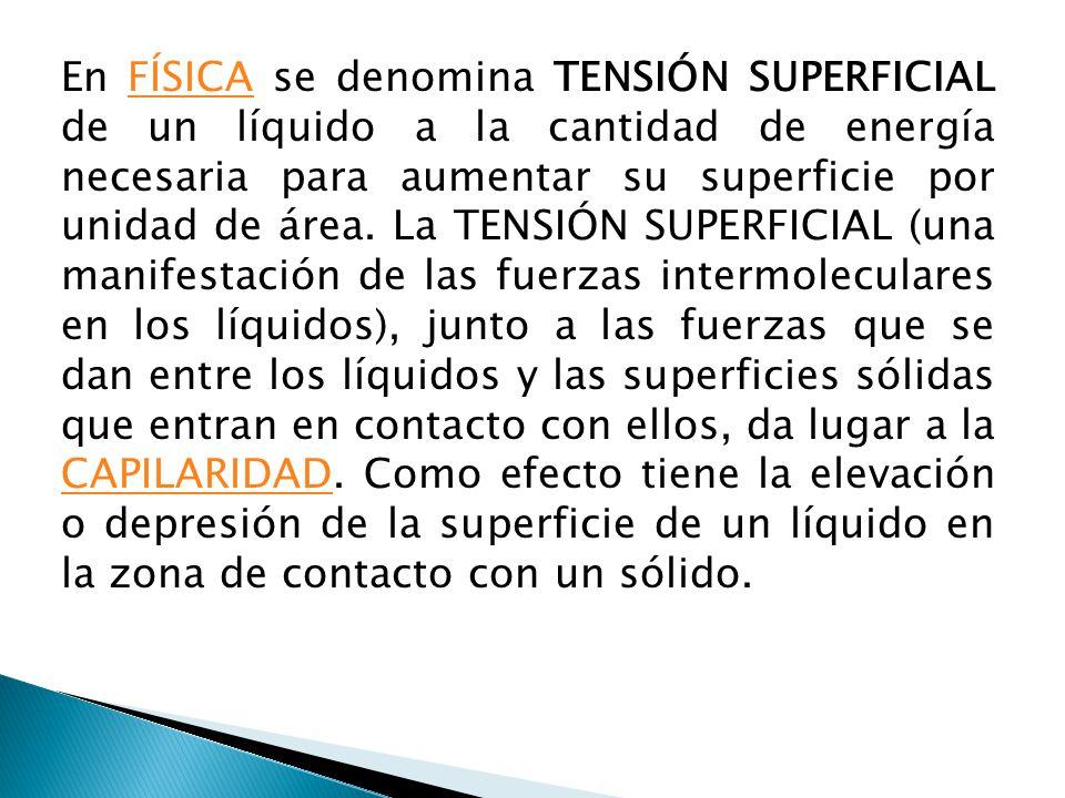 En FÍSICA se denomina TENSIÓN SUPERFICIAL de un líquido a la cantidad de energía necesaria para aumentar su superficie por unidad de área.