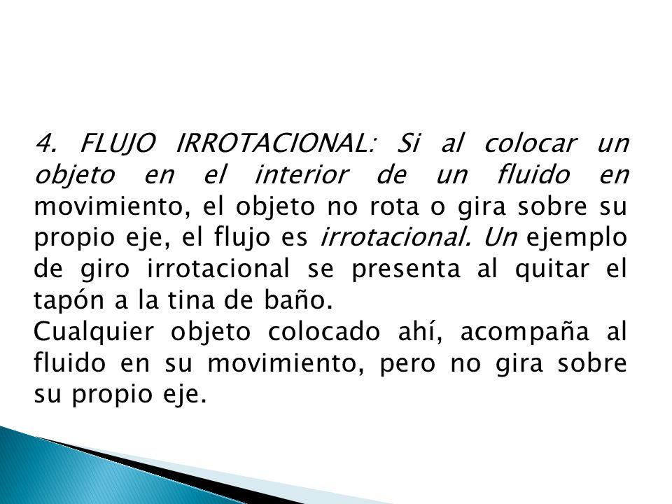 4. FLUJO IRROTACIONAL: Si al colocar un objeto en el interior de un fluido en movimiento, el objeto no rota o gira sobre su propio eje, el flujo es irrotacional. Un ejemplo de giro irrotacional se presenta al quitar el tapón a la tina de baño.