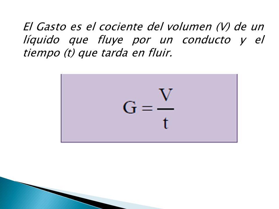 El Gasto es el cociente del volumen (V) de un líquido que fluye por un conducto y el tiempo (t) que tarda en fluir.