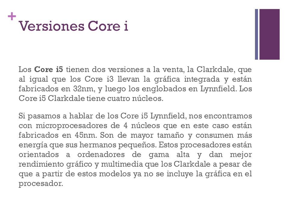 Versiones Core i