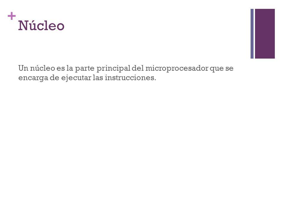 Núcleo Un núcleo es la parte principal del microprocesador que se encarga de ejecutar las instrucciones.