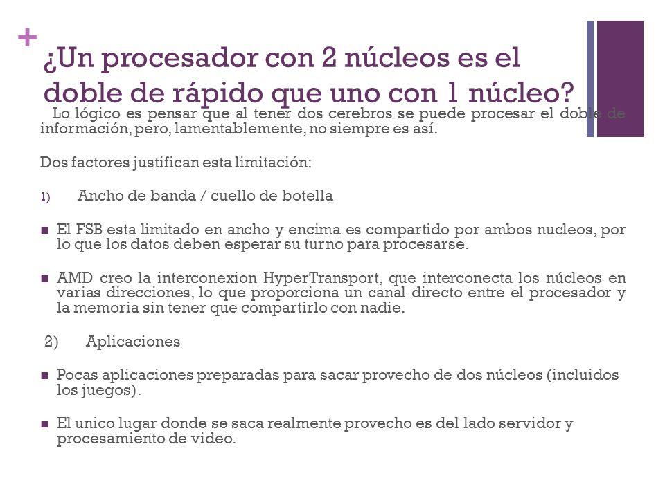 ¿Un procesador con 2 núcleos es el doble de rápido que uno con 1 núcleo