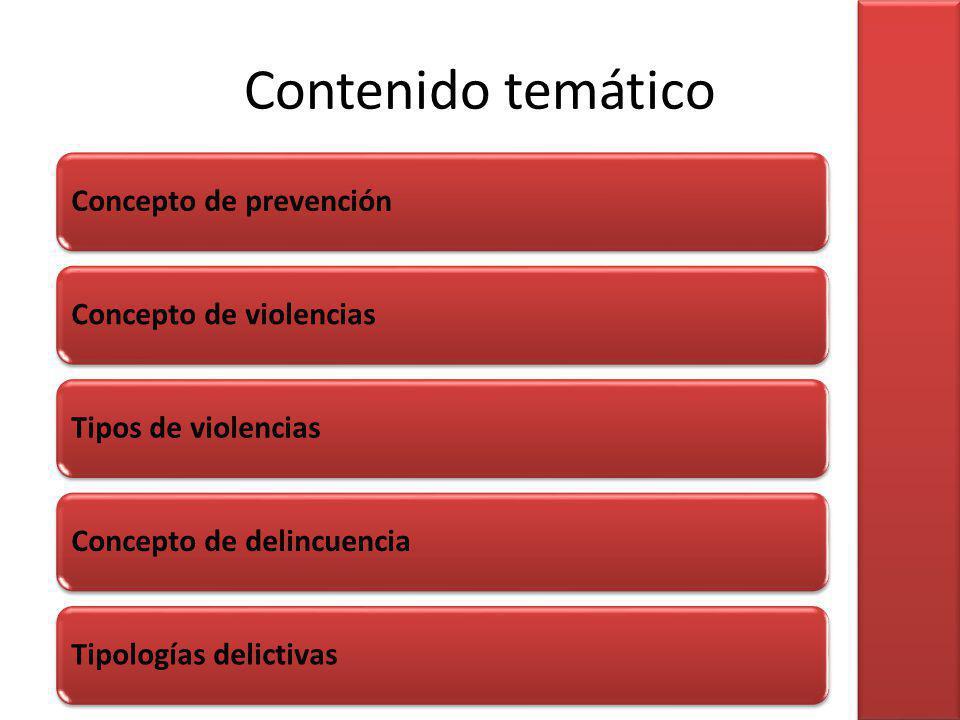Contenido temático Concepto de prevención Concepto de violencias