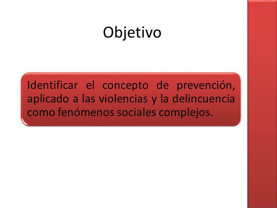 Objetivo Identificar el concepto de prevención, aplicado a las violencias y la delincuencia como fenómenos sociales complejos.