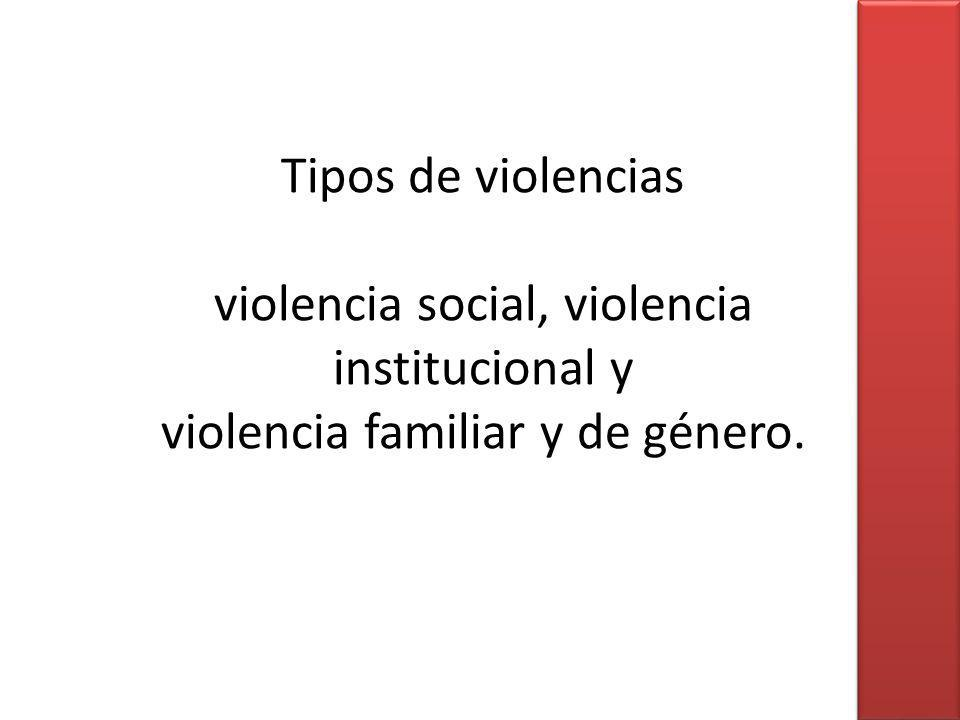 Tipos de violencias violencia social, violencia institucional y violencia familiar y de género.