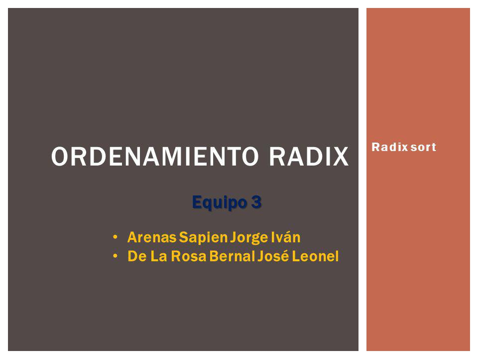 Ordenamiento Radix Equipo 3 Arenas Sapien Jorge Iván