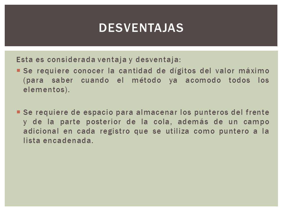 desventajas Esta es considerada ventaja y desventaja: