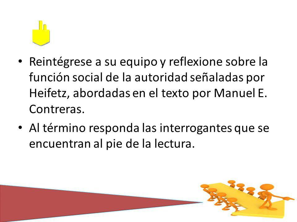 Reintégrese a su equipo y reflexione sobre la función social de la autoridad señaladas por Heifetz, abordadas en el texto por Manuel E. Contreras.