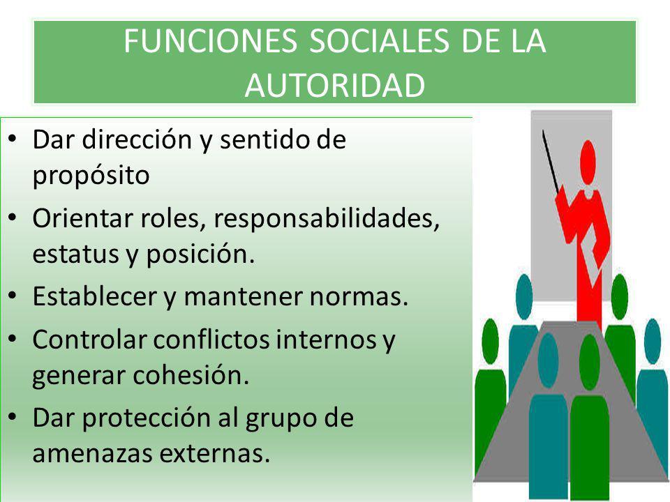 FUNCIONES SOCIALES DE LA AUTORIDAD