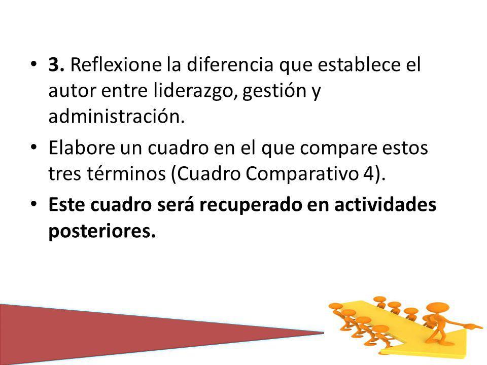 3. Reflexione la diferencia que establece el autor entre liderazgo, gestión y administración.